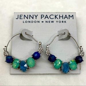 Jenny Packham Silver Tone Crystal Earrings Hoop
